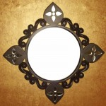 Wood carved Wall Mirror with Hand Cut Glass Ornaments, by Cherish