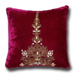 Hand Embroidery with Gold and Antique work Cushion Cover, Magenta By Cherish