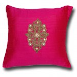 Hand Embroidered Raw Silk Cushion Cover, Pink By Cherish